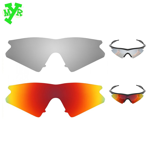 MRY Fire Red & Silver Titanium 2 Pair POLARIZED Replacement Lenses ...