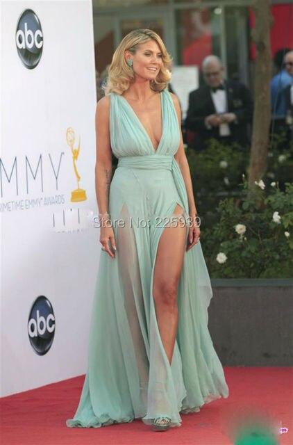 Heidi Klum Sexy High Slit Durchsichtig Celebrity Kleider Tiefem V ...