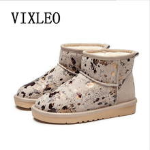 VIXLEO Women Snow boots New UGS Fashion Quality Genuine Suede Leather Australia Classic Warm Winter shoes Snow Boots