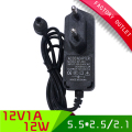 50pcs/lot switching ac dc power adapter 12v 1a 1000mA power supply 5.5*2.1/2.5mm connector