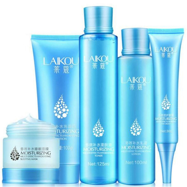 Korean Cosmetics 5Pcs Skin Care Set Face Cleans/Emulsion/Eye Cream/ Lotion/Sleep Mask Moisturizing Whitening Anti Dark Circle