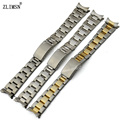 13mm 17mm 20mm Men Women Watch Watchbands Belt Silver Or Gold Curved End Solid SS Watch Band Strap Relojes Hombre 2017 ROL303