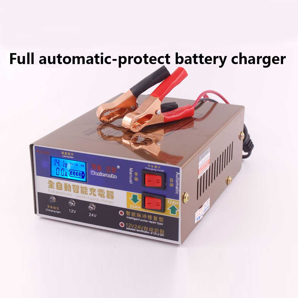 Full Automatic Car Battery Charger Intelligent Pulse Repair Battery Charger 12V/24V Truck Motorcycle Charger