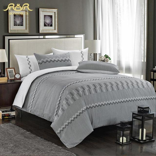 ROMORUS Brief Grey Cotton Satin Hotel Bed Set Luxury Quilt Covers Bed Linen  Queen Size Solid