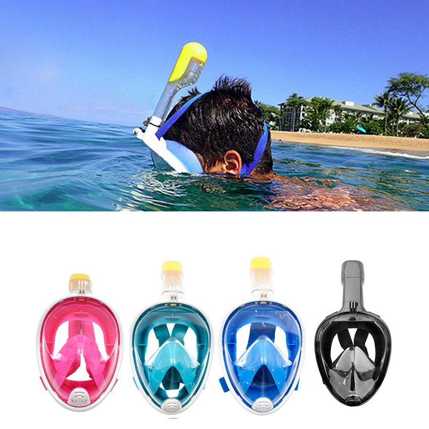все цены на new Underwater Snorkeling Set 180 Degree Wide Respiratory masks Safe and waterproof Scuba Anti Fog Full Face Diving Mask онлайн