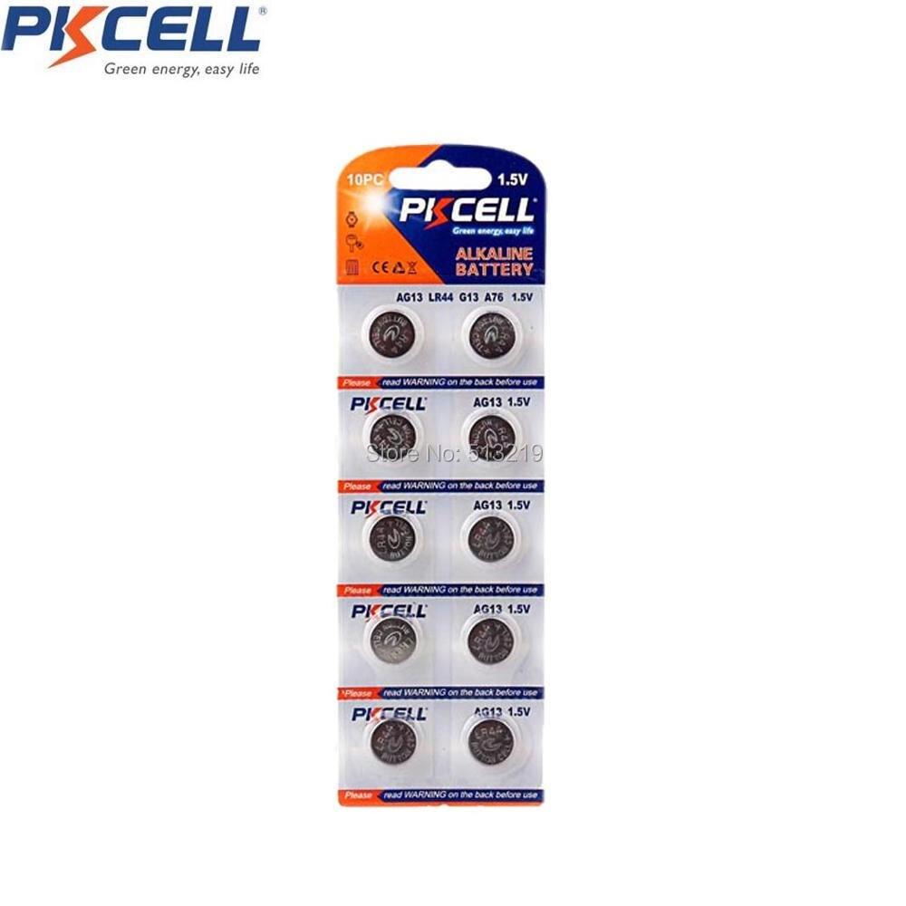 500Pcs/50Packs PKCELL AG13 1.5V Alkaline Button cell Battery  G13 LR44 357A A76 303 LR44 SR44SW SP76 L1154 RW82 RW42 Batteries 2