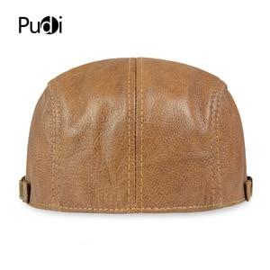 Image 5 - HL046  Men Genuine Leather Newsboy Hat Cap Gatsby Flat Golf Cabbie Baker Beret Retro brand new mens baseball cap