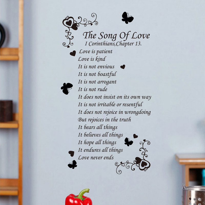 Proverbs True Meaning Of Christian Love Writing Poems In English Verse Is Patient Bedroom Living Room Wall Stickers From Home