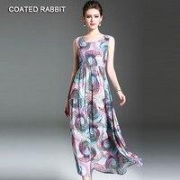 Vintage Casual Dresses For Woman Summer Bohemian Ladies Dress Cotton Linen Print Round Neck Sleeveless Shift Dress
