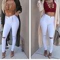 Один размер белый черный отверстие высокой талии тощие женщины мода джинсы молния fly осень женские брюки одежда джинсы женские брюки