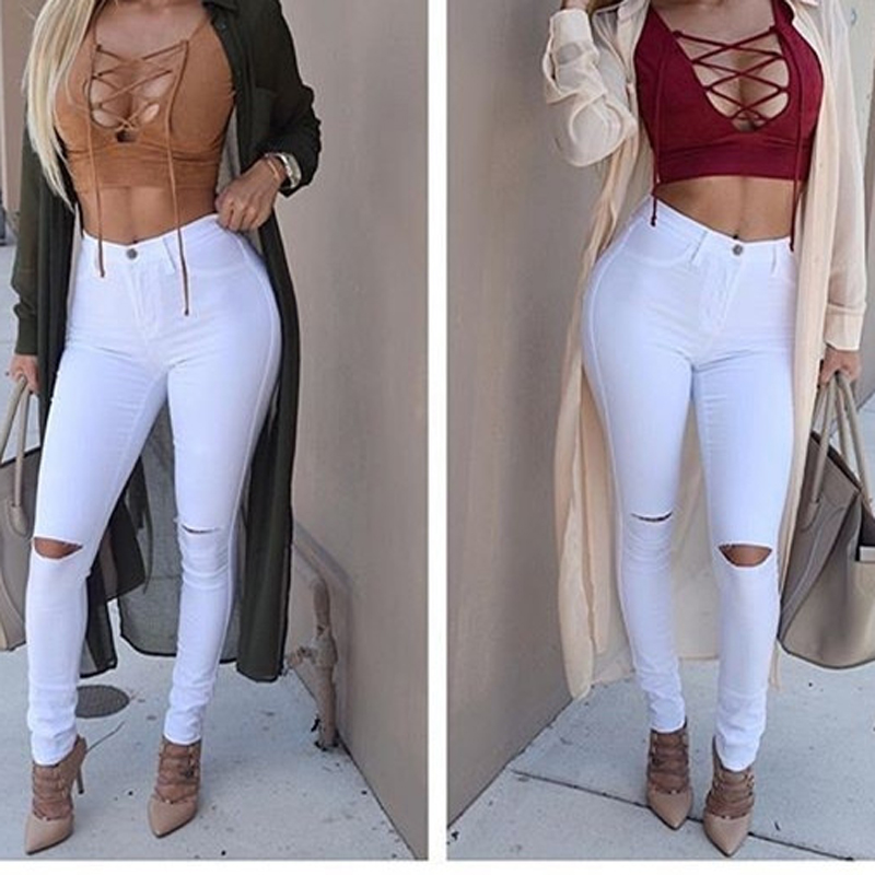 Single size white black hole high waist skinny women fashion jeans zipper fly autumn female trousers clothes pants