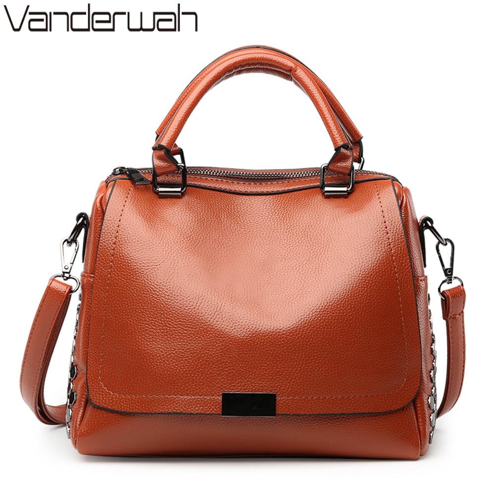 VANDERWAH Rivet Women Handbag Famous Brand PU Leather Lady Handbags Luxury Shoulder Bag Vintage Crossbody Bags Women Casual Tote