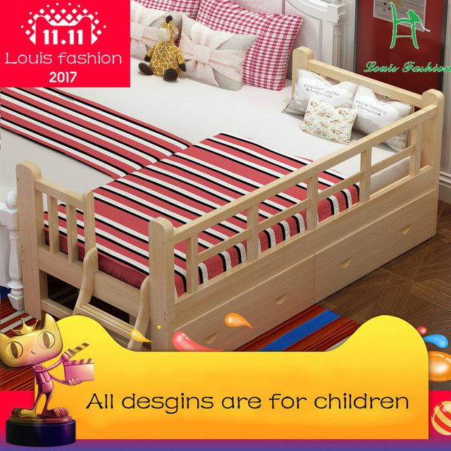 Louis Fashion Solid Wood Children Bed Barrier Small Single Boy Girl