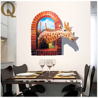 3D Creative Animal Giraffe Wall Decals Home Decoration Wallpaper Living Room PVC Giraffe Wall Stickers For