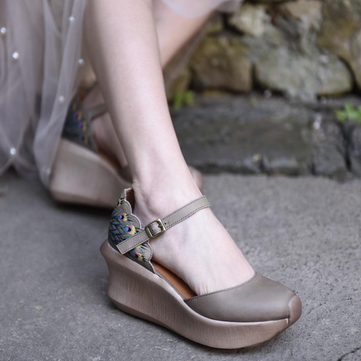 Artmu Original Folk Style Thick Sole Wedge Heels Women Sandals Buckle Genuine Leather Retro Platform Handmade Sandals High Heels
