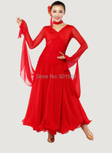 Free ship women ladies red/black long sleeve morden dance dress ballroom tango dress/stage dance wear