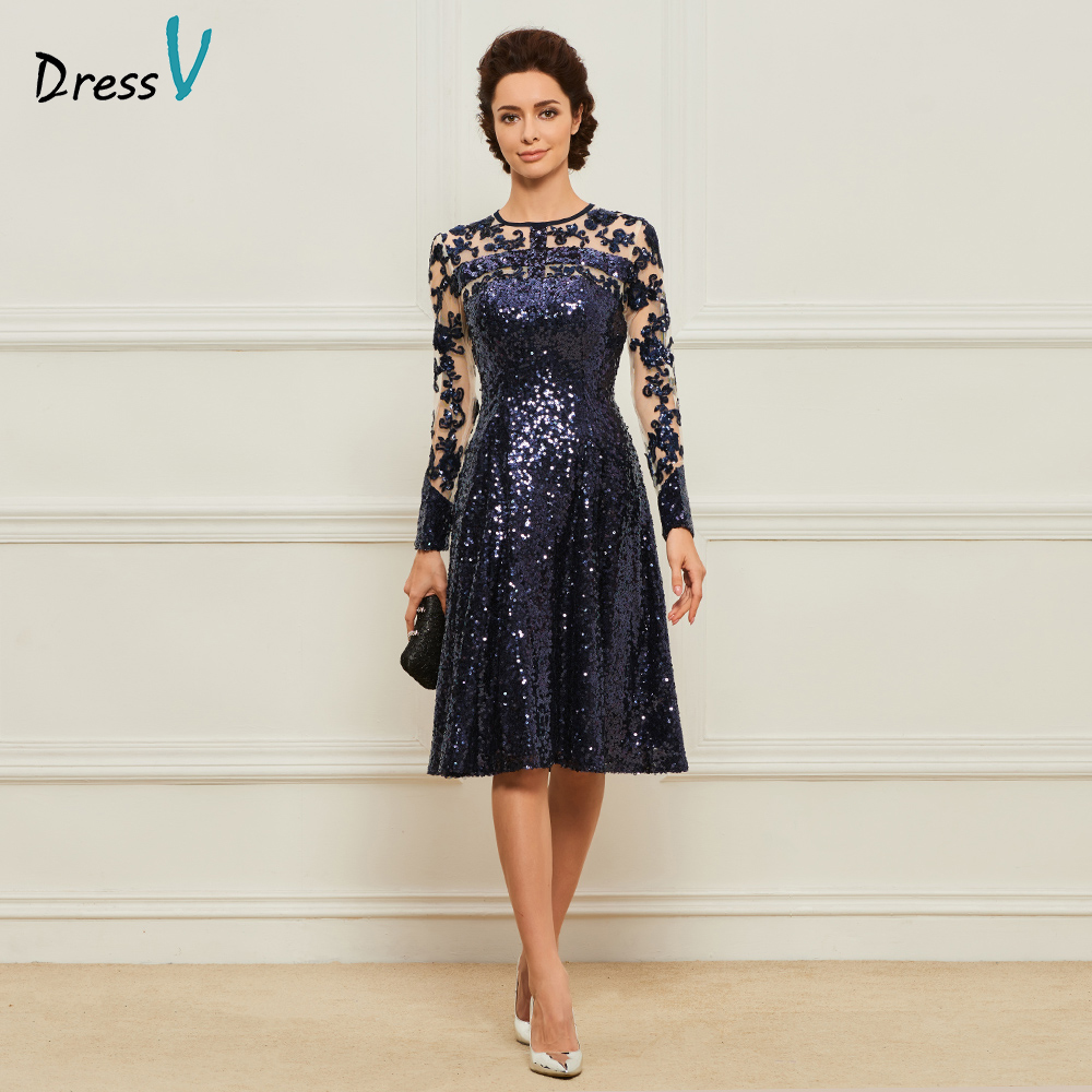 Dressv Navy Blue Knee Length Jewel Neck A Line Mother Of Bride Dress With Long Sleeves Sequins Long Mother Evening Gown Custom