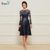 באורך הברך בצבע כחול כהה Dressv קו צוואר תכשיט אמא של שמלת הכלה עם שרוולים ארוכים פאייטים ארוך אמא שמלת הערב מותאם אישית