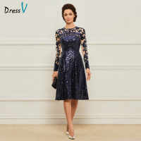 Dressv Navy Blue Knee Length Jewel Neck A Line Mother Of Bride Dress With Long Sleeves