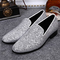 New Bling Paillette Leather Trainers Espadrilles Silver Luxury Asakuchi Men Casual Shoes Flats Boat Shoes Slip On Flat Shoes