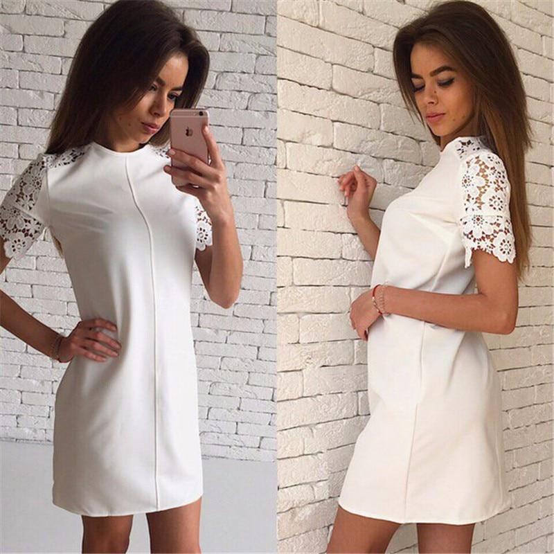 de moda de verano mujer de encaje de manga vestidos de blanco y rosa y bule 3 c