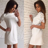 2016 Fashion Summer Women Lace Sleeve Dresses White Pink Bule 3 Colour O Neck Casual Party