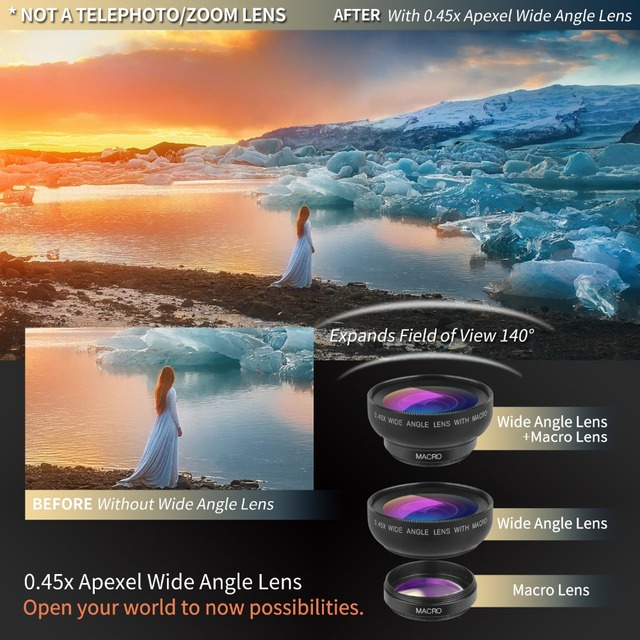 APEXEL Phone Camera Lens kit 0.45x Wide Angle Macro Lens+ rechargeable Led selfie Fill light for Samsung Xiaomi more cellphones 1