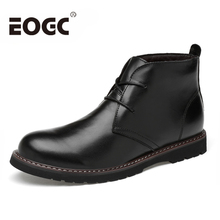 Autumn Winter Men Boots Handmade Ankle Plus Size 36-48 Natural Cow Leather Waterproof Snow