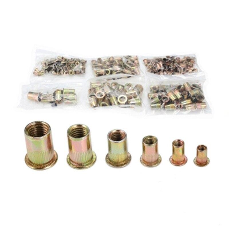 300 piezas M3/M4/M5/M6 M8/M10/M12 de acero al carbono de cabeza plana remaches tuercas insertar herramientas