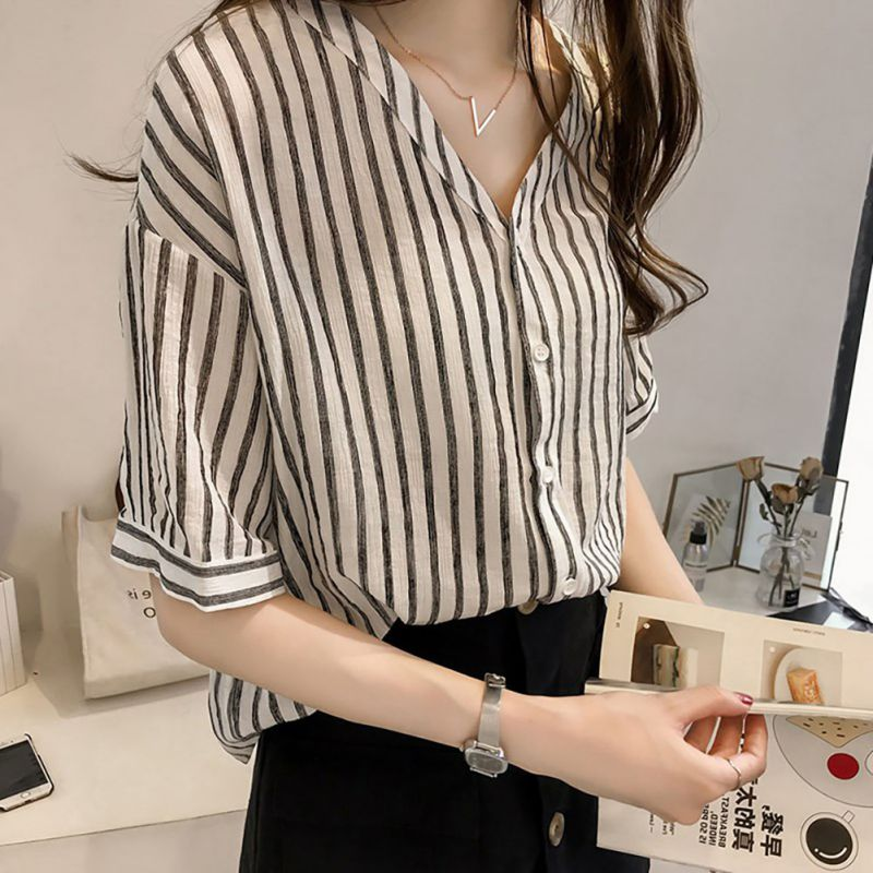 Plus Size 4XL Striped Blouse Autumn Womens Tops Blouses Three Quarter Batwing Sleeves Women Blusas Casual V Neck Blouse Shirt