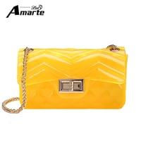 Amarte Spring Chains Lock Shoulder Bag Women Candy Colors Jelly Messenger Bag Small Flap Women Handbags Pu Leather Crossbosy Bag
