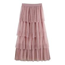 Skirts Womens 2019 New Summer Woman tutu Polka Dot Patchwork Mesh Skirt Breathable A Line Cake Jupe Femme Faldas
