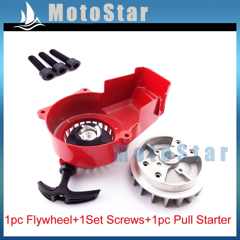 Flywheel For 47cc 49cc Air Cooled Mini Motos Metal Short Pull Start Red Easy Start