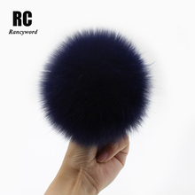 цена на [Rancyword] Luxurious Real Fox Fur Pompom For Women Hats Fur Pom Poms Big Natural Fur Ball For Hats Winter 15cm RC1344
