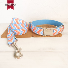New Fashion Waves Dog Collar Colorful Handmade Soft Small Dog Collar And Leash Outdoor Travel Walking Pet Cats Dogs Accessories