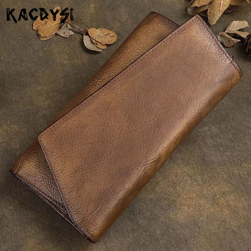 Handmade 100 Genuine Leather Vintage Men s Large Wallets Trifold Cards Case Retro Long Wallets Phone