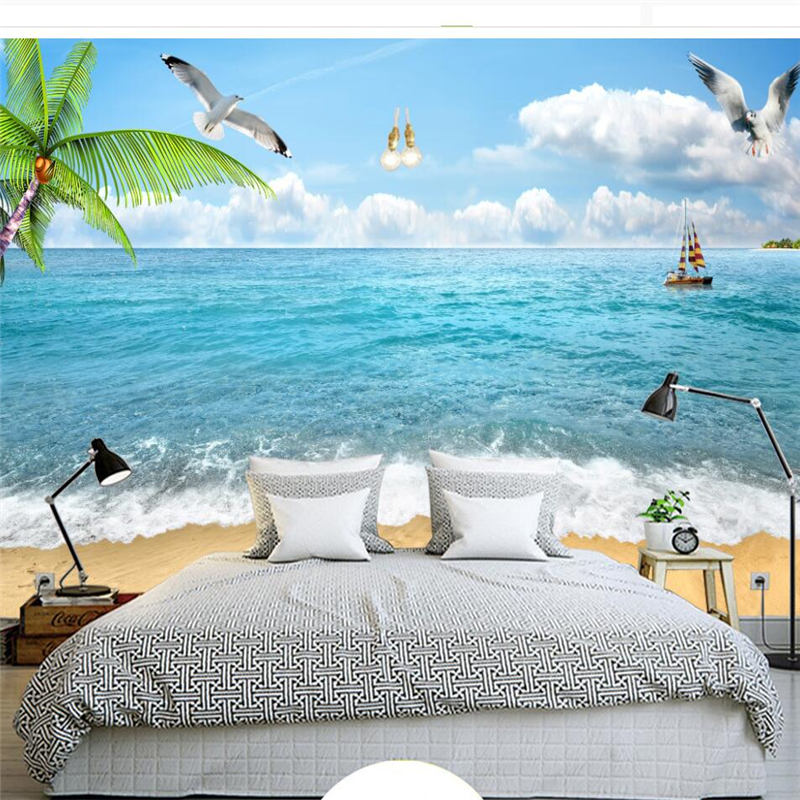 Beibehang papel de parede 3d custom wallpaper Blue sky and white clouds beach with sea view TV wall wallpaper for walls 3 d