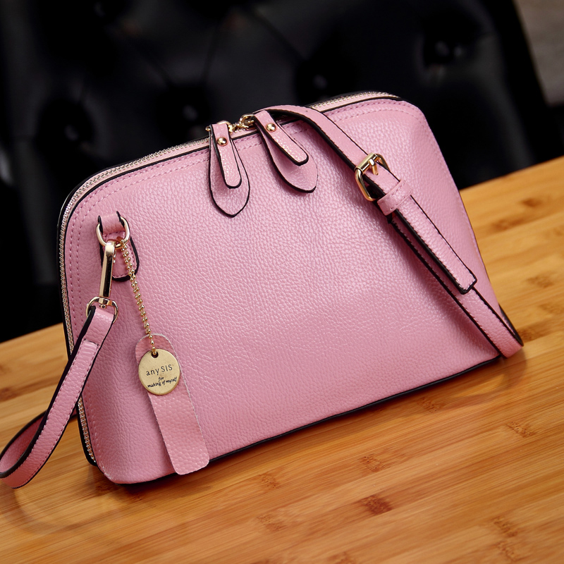 Fashion Women Small Crossbody Bags Genuine Leather Candy Color Summer Shell Shoulder Bags for Girls Pink