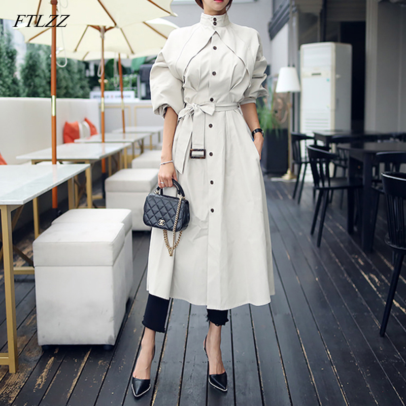 FTLZZ Women Fashion Comfortable Loose A-line   Trench   Coat Professional Temperament Outdoor Warm Long   Trench   Coat