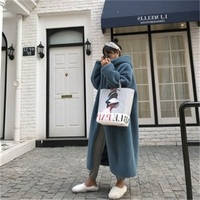 The New Spring And Winter 2019 Women Fur Coat Fashion Korean Edition Loose Imitation Rabbit Hair Long Hooded Hot Sale Coats