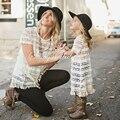 EABoutique 2017 Новая Коллекция Весна Мода Цветочные стежок стиль кисточки Кружева мать дочь платья Высокого качества