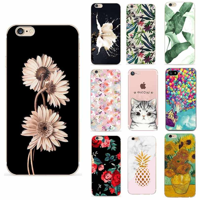For iphone 8 plus case luxury For Women Cute Flower Soft Cover Capas Phone Case For Iphone 6 S Iphone7 X XS 5 5S SE Capas Cases