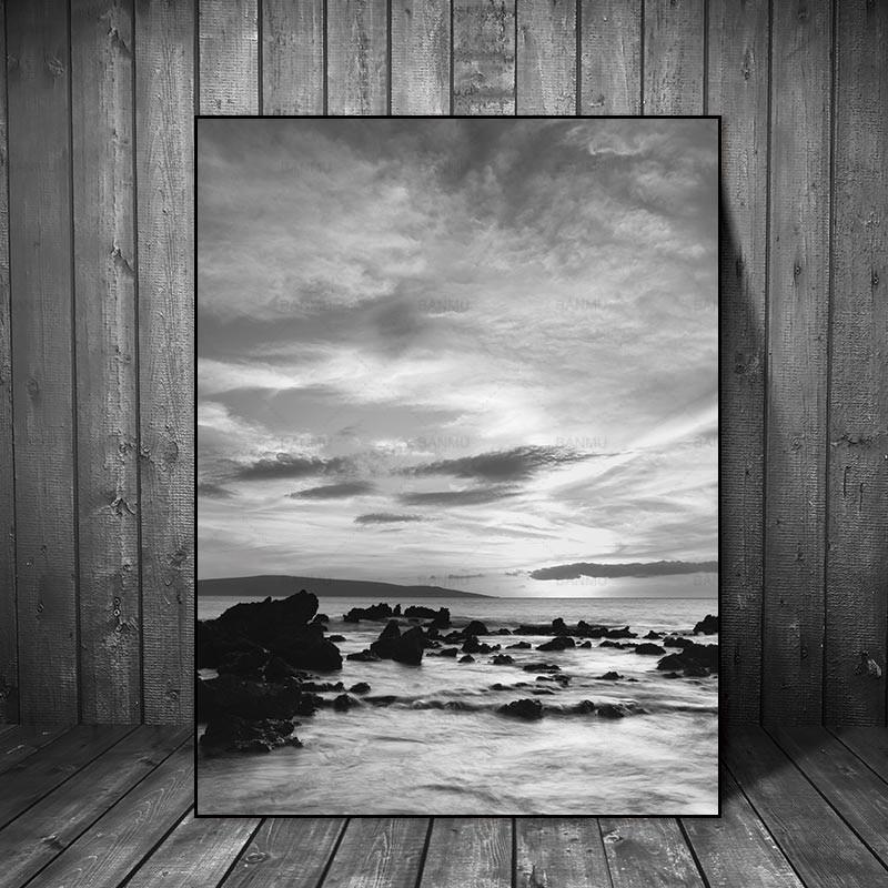 Nordic plakat na ścianie Obrazy na płótnie Pejzaż Skandynawski Streszczenie Morze Kamień Salon Sztuka Dekoracja Obraz na płótnie Druk