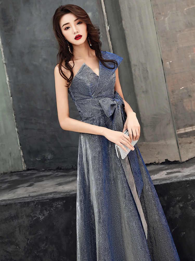 Xanh Dương Trung Quốc Phương Đông Cưới Nữ Quý Phái Sườn Xám 1 Vai Dạ Hội Sang Trọng Hiện Đại Người Nổi Tiếng Tiệc Váy
