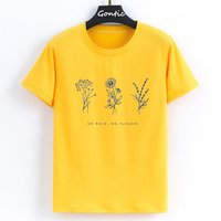 Harajuku no pain no flower белая футболка женская футболка большого размера розовая Женская футболка с цветочным принтом женская футболка Топы Футбол...