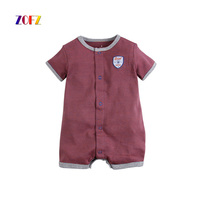 ZOFZ Summer Baby Boy Rompers Stripes Short Sleeve Striped Baseball Jersey Soft Jumpsuit Cotton Leisure Baby