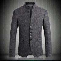 Для мужчин пиджаки 2018 Новое поступление шерстяной воротник стойка китайский туника костюмы Мода джентльмен Slim Fit вечерние Блейзер серый M 3XL