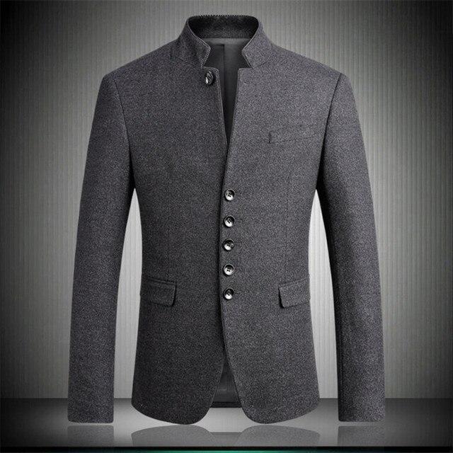 Men Blazers 2018 New Arrival Woolen Stand Collar Chinese Tunic Suits Fashion Gentleman Slim Fit Party Blazer Gray M-3XL 4XL 6622