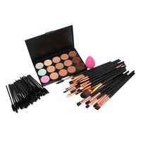 New 15 Colors Eyes Makeup Concealer Palette 20PCS Eyeliner 50PCS Eyelash Brush Puff