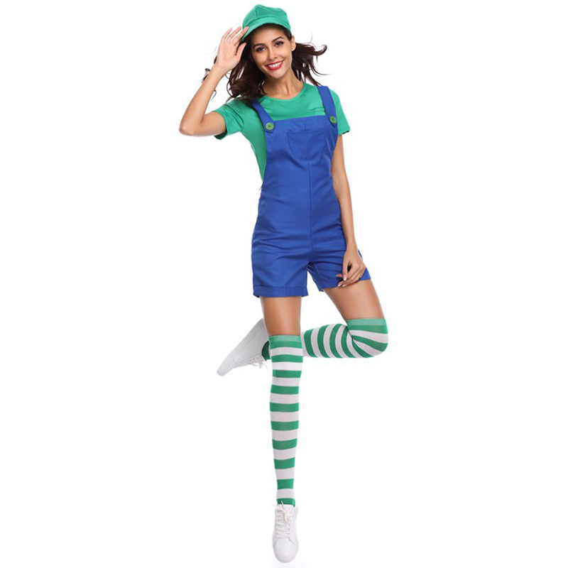 TITIVATE New Super Mario Women Costume Sexy Plumber Costume Mario Bros Fancy Super mario 3 Colors 4 Pcs Costumes for Adults
